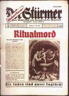 """Framsida av der Stürmer med titeln """"Ritualmord - Die Juden sind unser Unglück."""""""